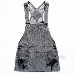 NWT Black & Gray Striped Overall Mini Dress Medium